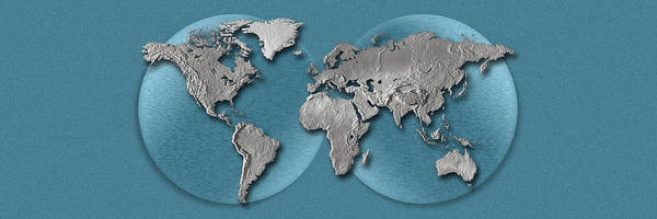 Three Dimensional Wall Art - Photograph - Close-up Of A World Map by Panoramic Images