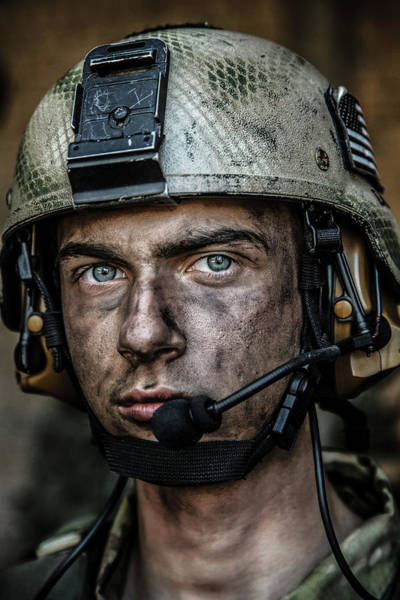 Wall Art - Photograph - Close-up Portrait Of A Young U.s. Army by Oleg Zabielin