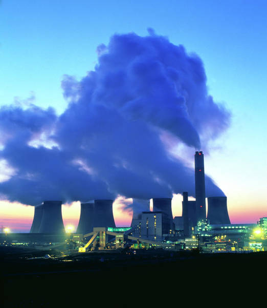 Carbon Wall Art - Photograph - Coal-fired Power Station At Dusk. by Martin Bond/science Photo Library