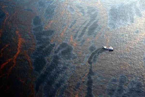 Coast Guard Attempts Burning Off Oil Leaking From Sunken Rig Art Print by Chris Graythen
