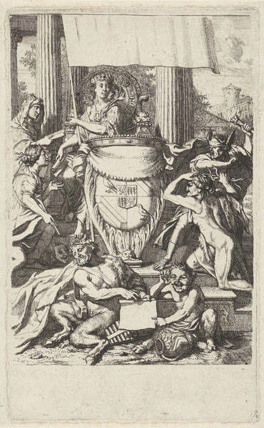 Allegorical Figure Drawing - Coat Of Arms Geelvinck Family Surrounded By Allegorical by Quint Lox