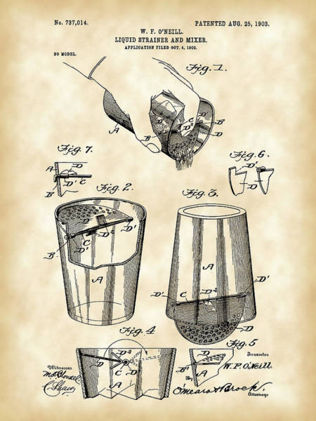 Wall Art - Digital Art - Cocktail Mixer And Strainer Patent 1902 - Vintage by Stephen Younts