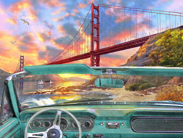 Golden Gate Painting - Colden Gate From A Car by Dominic Davison