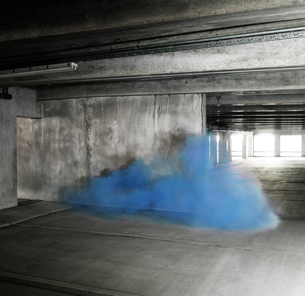 Parking Garage Photograph - Colored Smoke In An Industrial by Henrik Sorensen