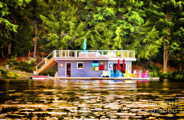 Photograph - Colorful Boathouse by Les Palenik