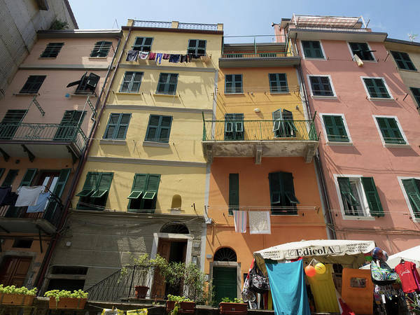 Balcony Photograph - Colorful Buildings With Clothes Hanging by Panoramic Images