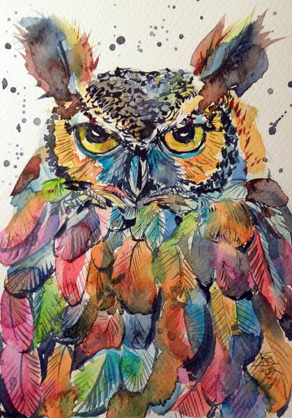 Owl Painting - Colorful Owl by Kovacs Anna Brigitta