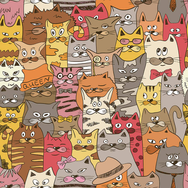 Cool Cat Digital Art - Colorful Seamless Pattern With Funny by Annykos