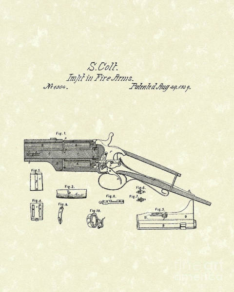 Drawing - Colt Firearm 1839 Patent Art by Prior Art Design
