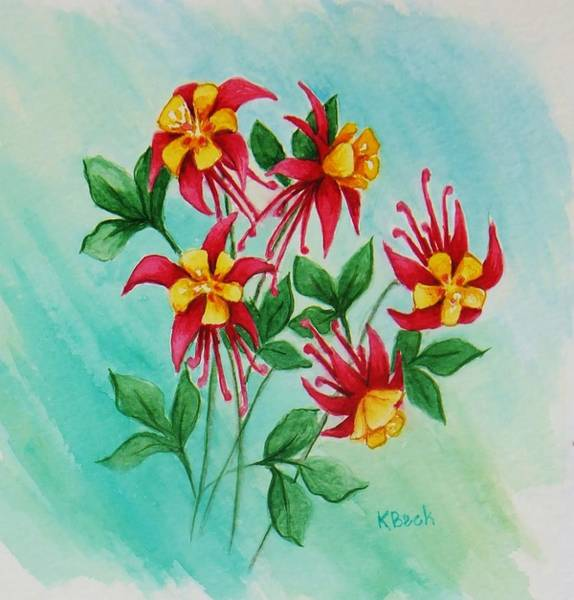 Wall Art - Painting - Columbines by Katherine Young-Beck