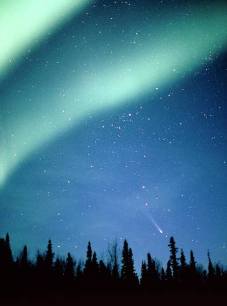 Wall Art - Photograph - Comet Hyakutake With Aurora Borealis by Jack Finch/science Photo Library