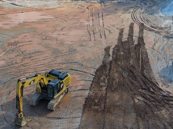 Wall Art - Photograph - Construction Site With Excavator by Peter Essick