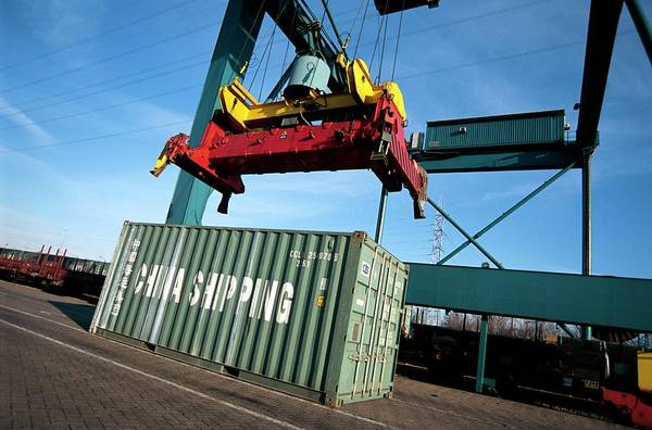 Antwerp Photograph - Container Cargo And Crane by Christophe Vander Eecken/reporters/science Photo Library