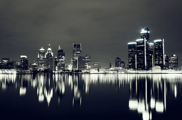 City Scape Photograph - Cool Detroit Night Skyline by Alanna Pfeffer