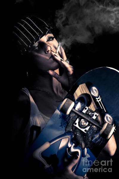Photograph - Cool Smoking Woman With Skateboard by Jorgo Photography - Wall Art Gallery