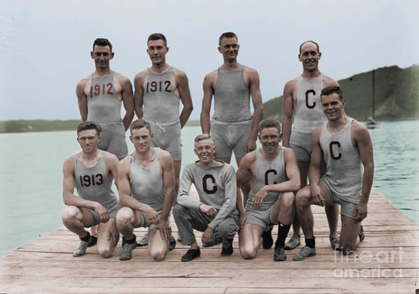 Rowing Photograph - Cornell Varsity Rowing Team by Celestial Images
