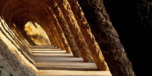 Colonnade Photograph - Corridor In A Park, Park Guell by Panoramic Images