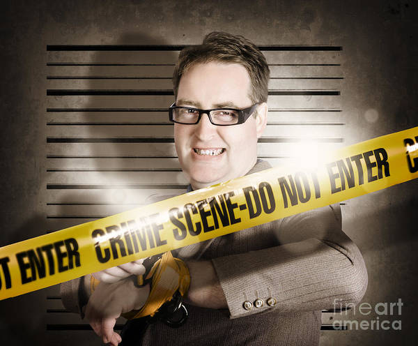 Photograph - Corrupt Business Man Behind Crime Scene Tape by Jorgo Photography - Wall Art Gallery