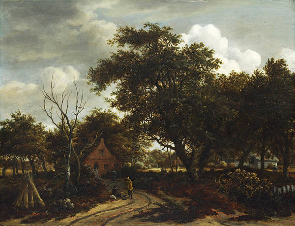 Meindert Hobbema Painting - Cottages In A Wood by Meindert Hobbema