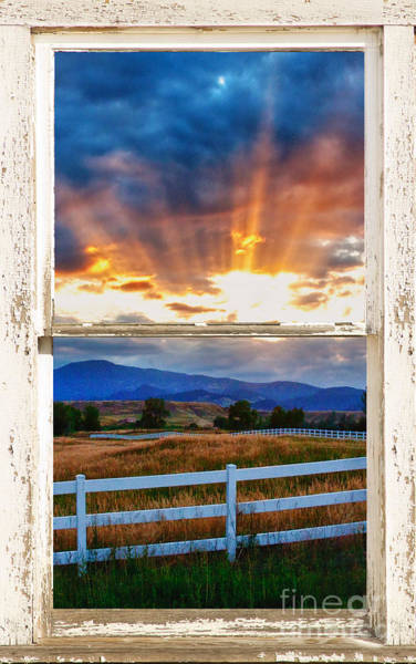 Unframed Wall Art - Photograph - Country Beams Of Light Barn Picture Window Portrait View  by James BO Insogna
