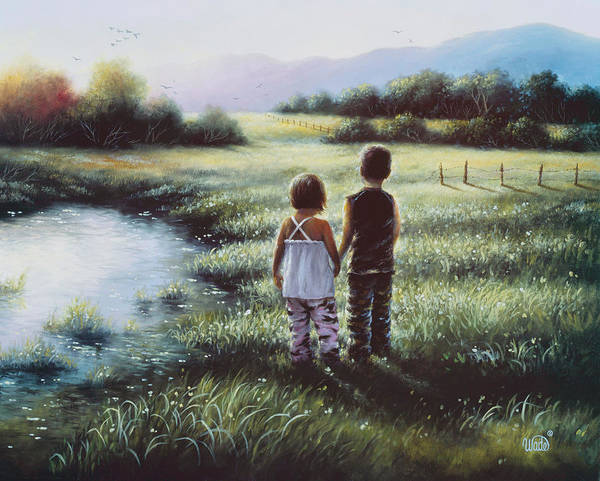 Family Farm Painting - Country Kids by Vickie Wade