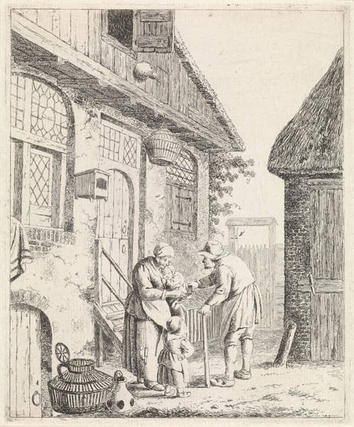 Wall Art - Drawing - Courtyard With Farmers, Johannes Christiaan Janson by Johannes Christiaan Janson And Christina Chalon