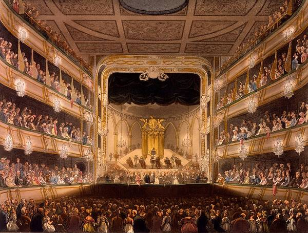 Victorian Garden Wall Art - Painting - Covent Garden Theater by Pugin and Rowlandson