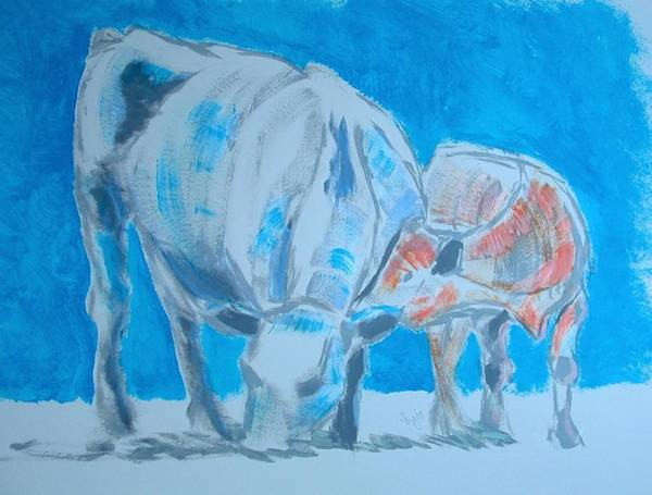 Painting - Cow And Calf by Mike Jory