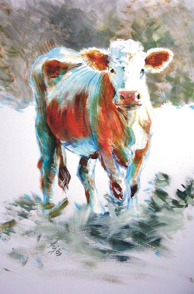 Painting - Cow by Mike Jory