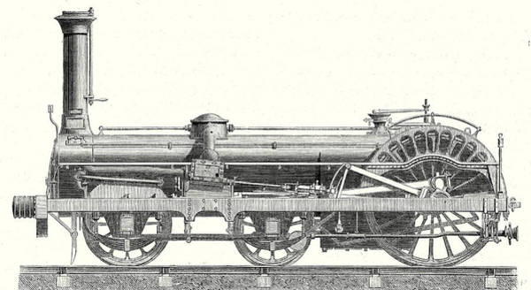 Locomotive Drawing - Crampton Locomotive by English School