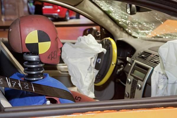 Detroit Auto Show Photograph - Crash-testing Volvo C30 Electric Car by Jim West
