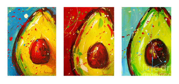 Painting - Crazy Avocados Triptych by Patricia Awapara