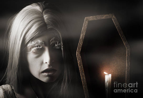 Afraid Photograph - Creepy Vampire Woman With Light In Ghost Forest by Jorgo Photography - Wall Art Gallery