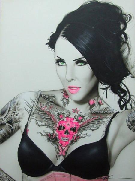 Skull Face Painting - Crimson Skull Of Death by Christian Chapman Art