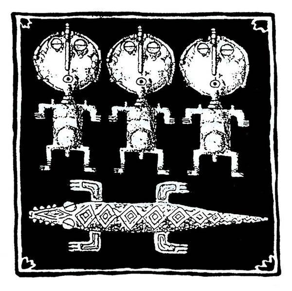 Drawing - Crocodile  Dreaming by Hartmut Jager