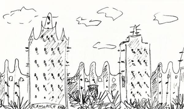 Drawing - Crocodile Park In Torremolinos by Chani Demuijlder