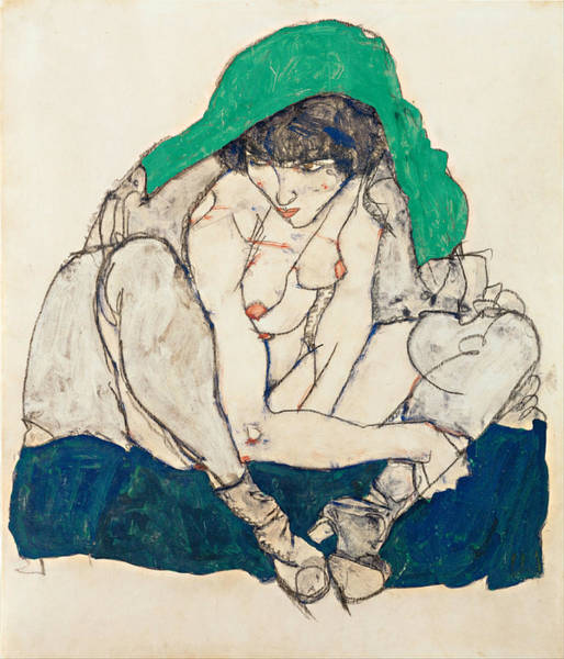 Impressionistic Drawing - Crouching Woman With Green Headscarf by Egon Schiele