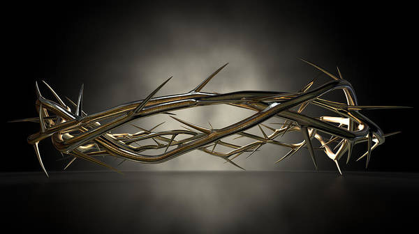 Christianity Digital Art - Crown Of Thorns Gold Casting by Allan Swart