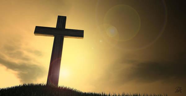 Crucifixion Digital Art - Crucifix On A Hill At Dawn by Allan Swart