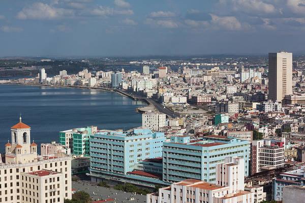 Malecon Wall Art - Photograph - Cuba, Havana, Vedado, Elevated View by Walter Bibikow