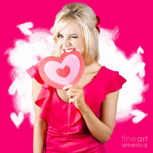 Saying Photograph - Cute Love Hungry Girl Eating Big Red Heart by Jorgo Photography - Wall Art Gallery