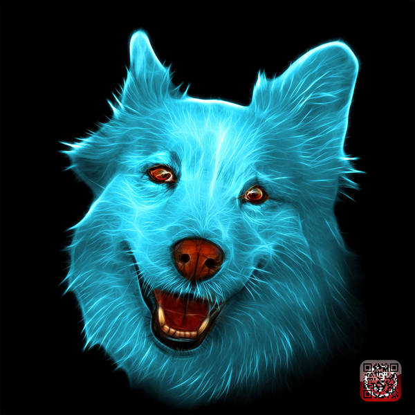 Painting - Cyan Siberian Husky Mix Dog Pop Art - 5060 Bb by James Ahn