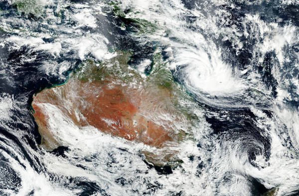 Tropical Cyclone Wall Art - Photograph - Cyclone Debbie Off Australian Coast by Nasa/science Photo Library