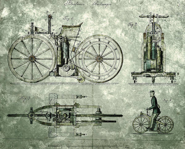 Painting - Daimler Reitwagen Color Drawing 1885 D Patent  by Celestial Images