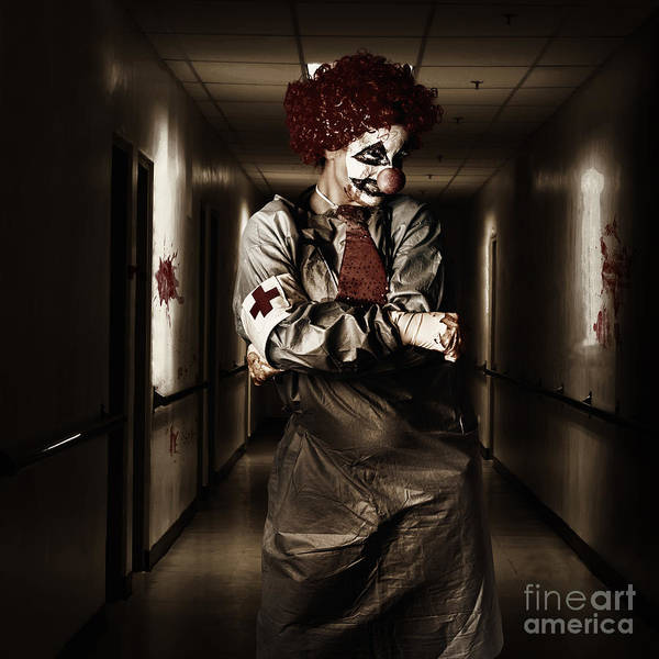 Photograph - Dark Hospital Clown In Spooky Theatre Nightmare by Jorgo Photography - Wall Art Gallery