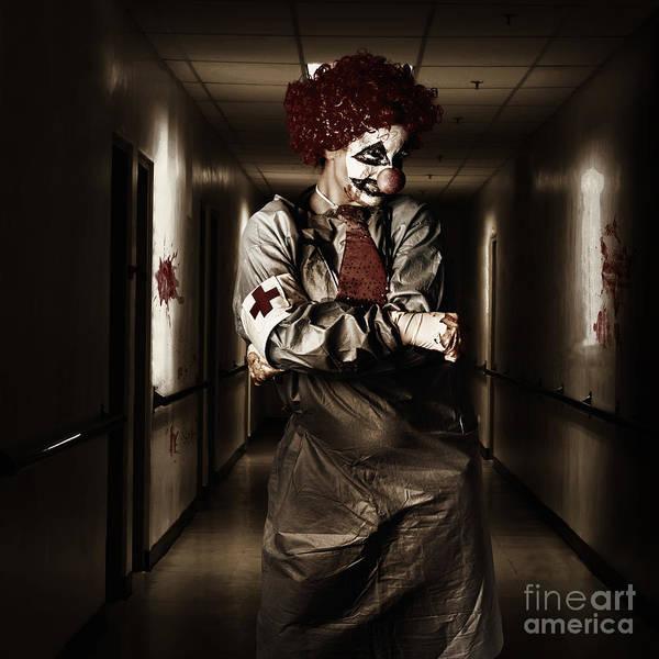 Wall Art - Photograph - Dark Hospital Clown In Spooky Theatre Nightmare by Jorgo Photography - Wall Art Gallery
