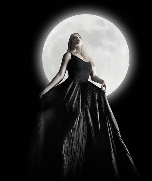 Full Moon Wall Art - Photograph - Dark Night Moon Girl With Black Dress by Angela Waye