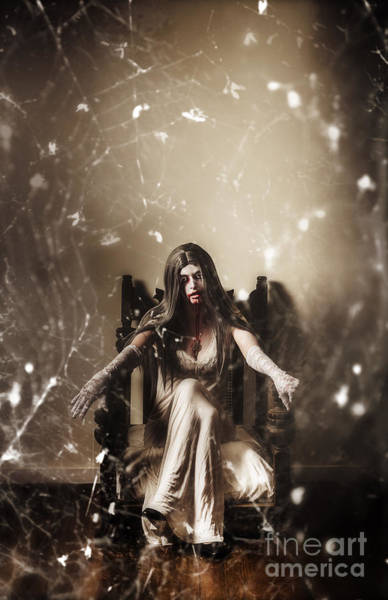 Spiderweb Photograph - Dark Portrait Of A Demon Woman In Haunted House by Jorgo Photography - Wall Art Gallery