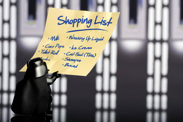 Toy Photograph - Darth's Shopping List by Samuel Whitton