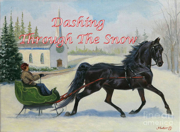 Jeanne Newton Schoborg Wall Art - Painting - Dashing Through The Snow by Jeanne Newton Schoborg